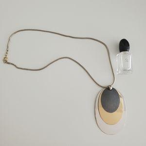 BOGO EUC modern overlap oval necklace spring ring